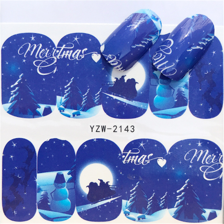 2018 New Christmas Series Watermark, Nail Sticker, Elk Snowman StickerS, Hot Selling Style YZW-2139