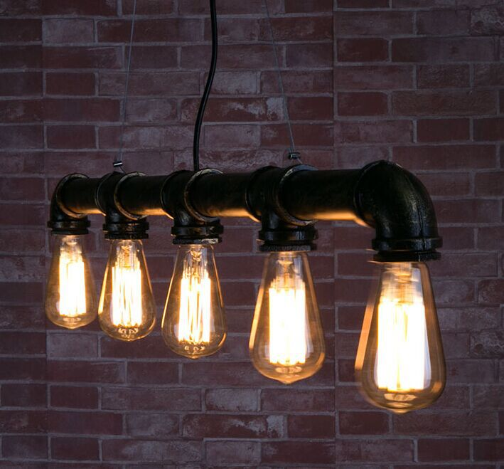 Loft Vintage Edison Pendant Lights Personalized Bar Lighting Industrial Vintage Water Pipe Pendant Lamp E27 Black/Antique Lamps vintage pendant lights retro water pipe pendant lamp e27 holder edison bulbs lighting fixture for warehouse diningroom ktv bar