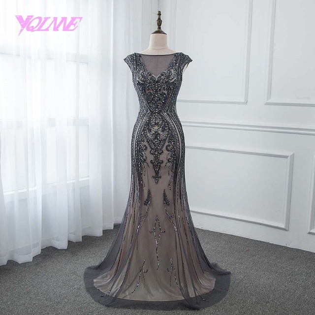 e4352281bfc3e YQLNNE 2018 Gray Crystals Long Mermaid Prom Dresses Backless Party Dress