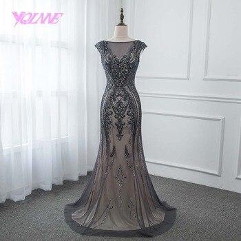 963e934fe YQLNNE 2018 gris cristales largo sirena vestidos de fiesta sin espalda  vestido