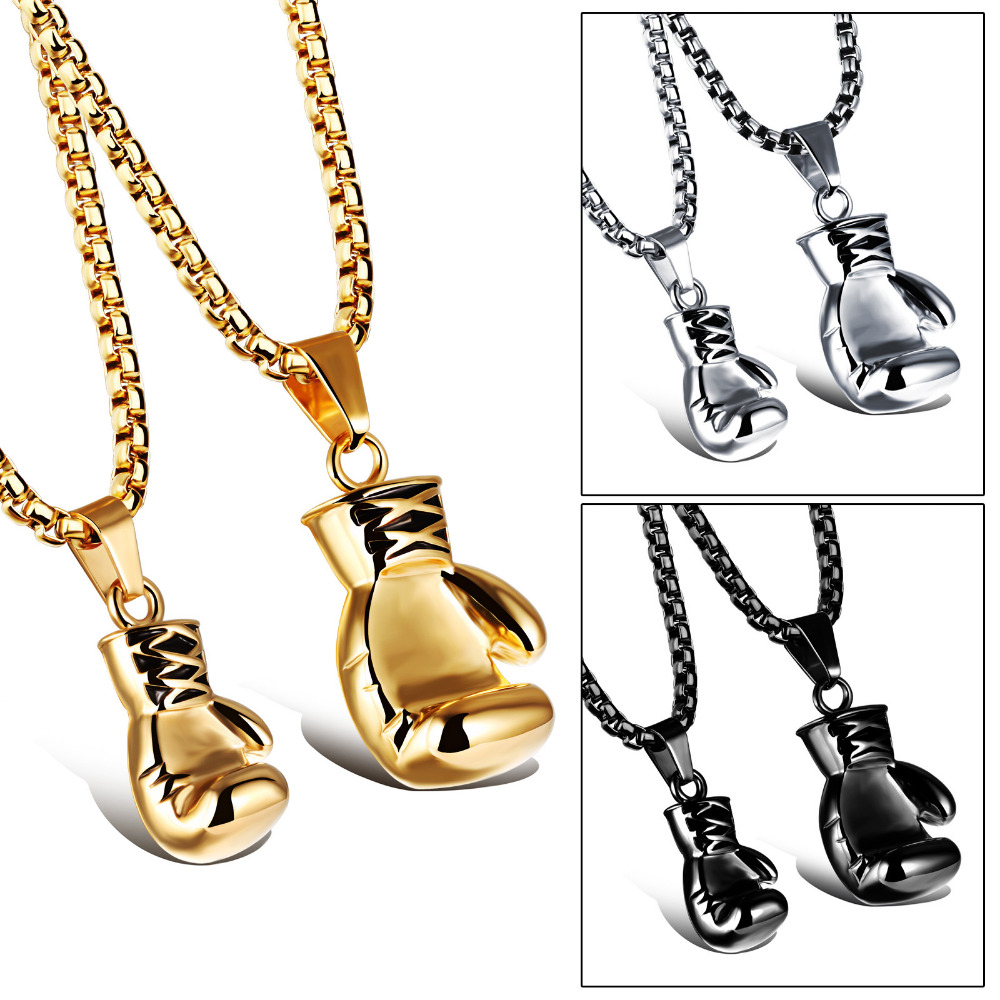OPK BlackSteel Gold Color Fashion Mini Boxing Glove Necklace