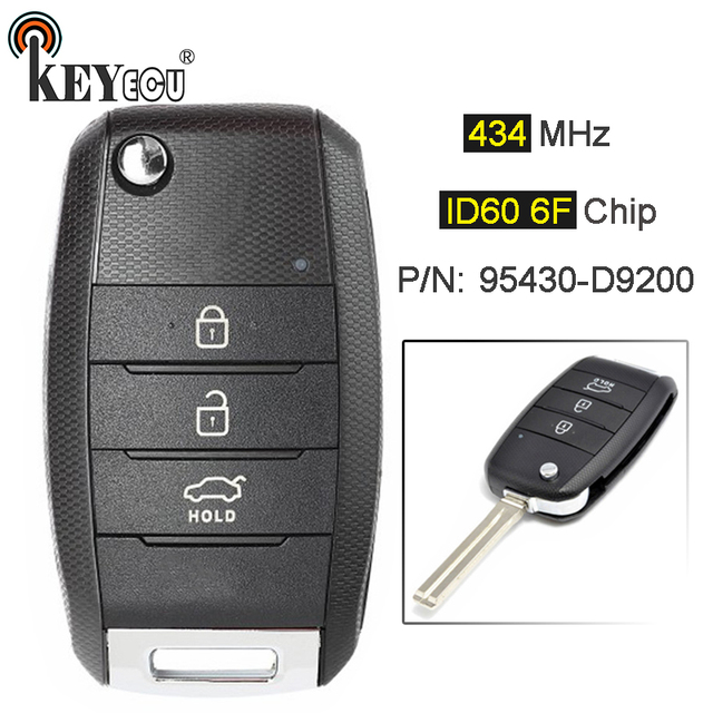 KEYECU 434 MHz ID60 6F Chip P/N: 95430-D9200 actualizado plegable 3 botón remoto llave de coche Fob para KIA Sportage 2016 de 2017