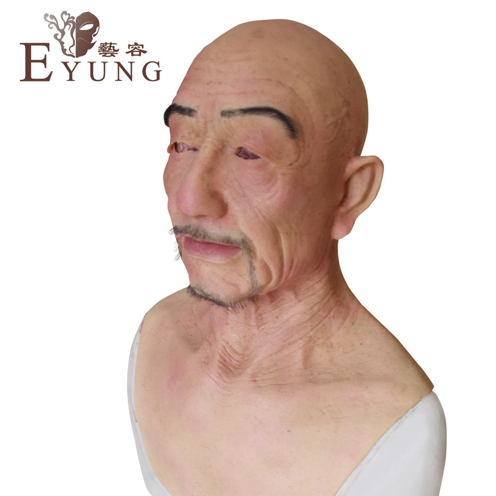 YR-H-William Top quality realistic silicone face, old man masquerade christmas, full head halloween female to male yr hc angela masquerade crossdresser silicone female boobs realistic goddess face for halloween feminine half body breasts tits