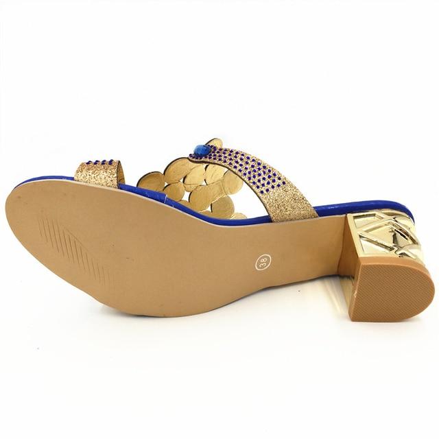 Designer Sandals Women 2018 Ladies Slides Women Slippers Sandals Summer Crystal Shoes Peep Toe Middle Heels Zapatos Mujer 4