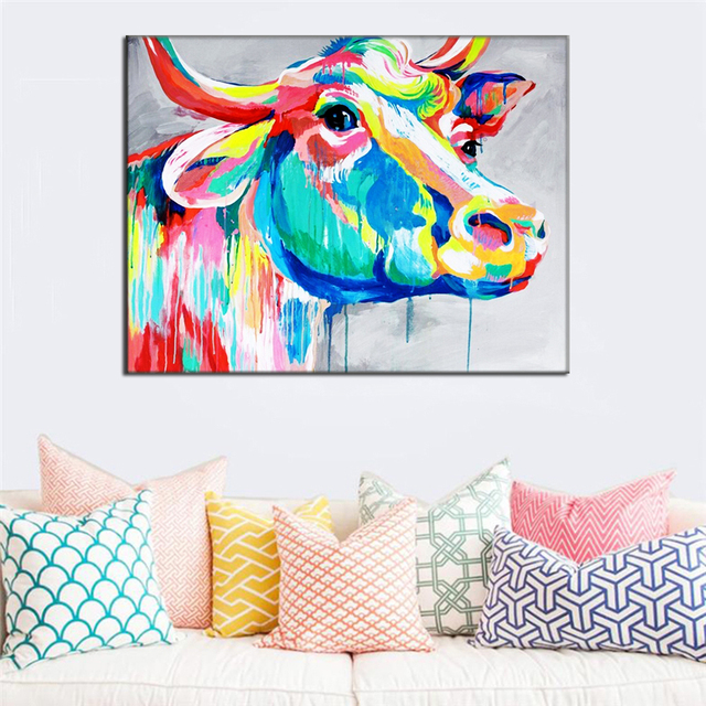Beautiful Big Paintings Handmade Wall Painting Color Cow Picture Canvas Abstract Home Decor Animals Oil Painting Hang Pictures In Painting