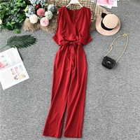 2019 Summer Fashion Women Casual High Waist Slim Fit Jumpsuit Lady Sleeveless Overalls Red/Black/Blue/Pink/Yellow/Orange/Green