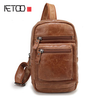 AETOO New men 's shoes men' s casual trend of leather chest pockets of the first layer of leather Messenger bag
