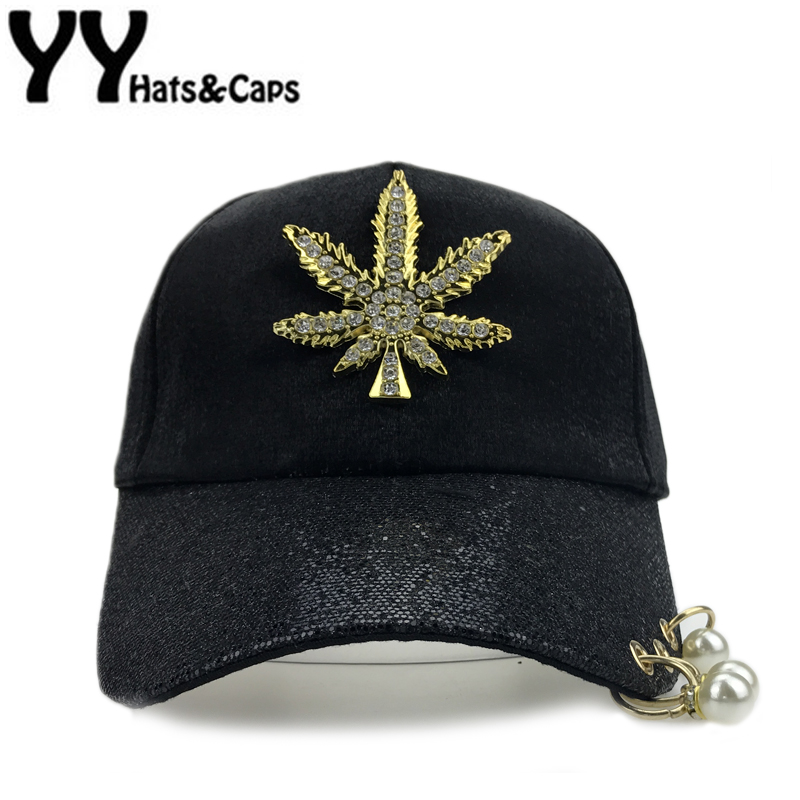 Metal Rhinestones Maple Leaf Cap Weed Snapback Hats Men Women Cotton Swag Hip Hop Fitted Baseball Caps With Pearl Rings YY17128 2017 new alan walker dj baseball cap alan walker with the return of men and women hip hop hats bone snapback cap