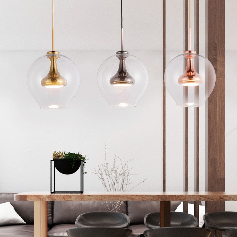 Postmodern Loft Clear Glass Led Chandelier Creative Warm Bedroom Study Coffee Shop Decoration Light Fixtures Suspension Lamp цена