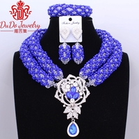 Big Design African Nogerian Wedding Birdal Jewelry Set Dubai Royal Blue Necklace Set Christmas Party 3Pics