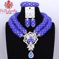 Big Design African Nogerian Wedding Birdal Jewelry Set Dubai Royal Blue Necklace Set Christmas Party 3Pics Newest Jewellery