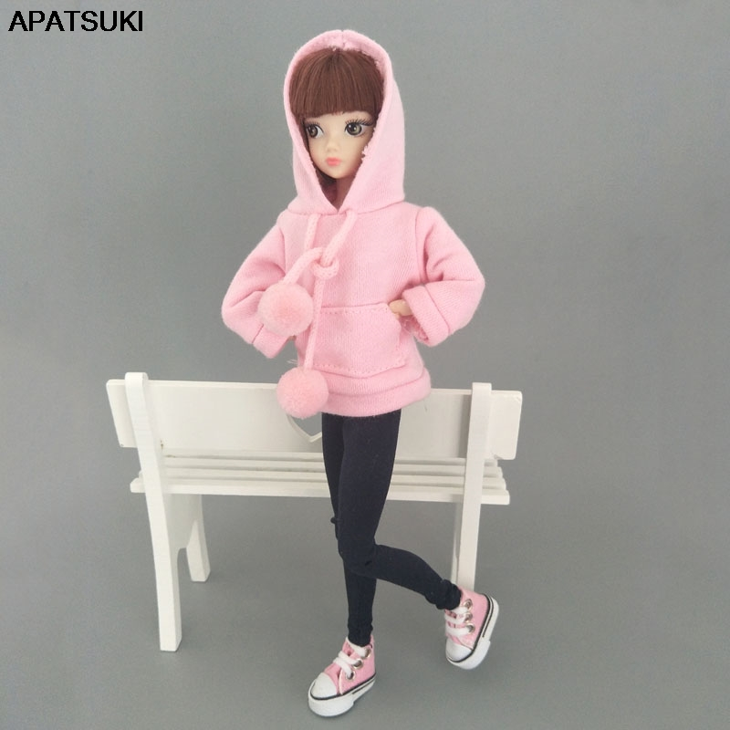 Pink Sweatshirt Coat For Barbie Doll Clothes Clothes For Barbie Doll Outfits Leather Pants Canvas Shoes 1/6 Doll Accessories