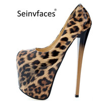 Plus size 41 42 43 44 45 46 47 women's sexy leopard basic slip on round closed toe platform super ever after high heels pumps 25