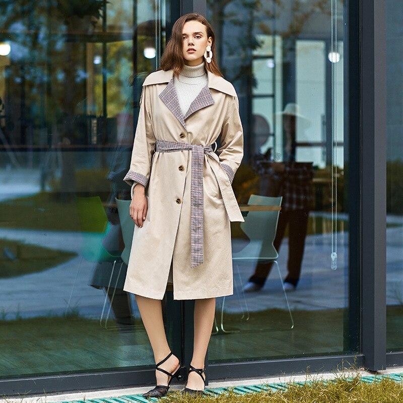 Euramerican Plaid khaki Trench Élégant Automne vent Haut Ivory De Atmosphère 3f18006 2018 Gamme White Couture Pour Mode Coupe Femmes Revers 4zfYwx