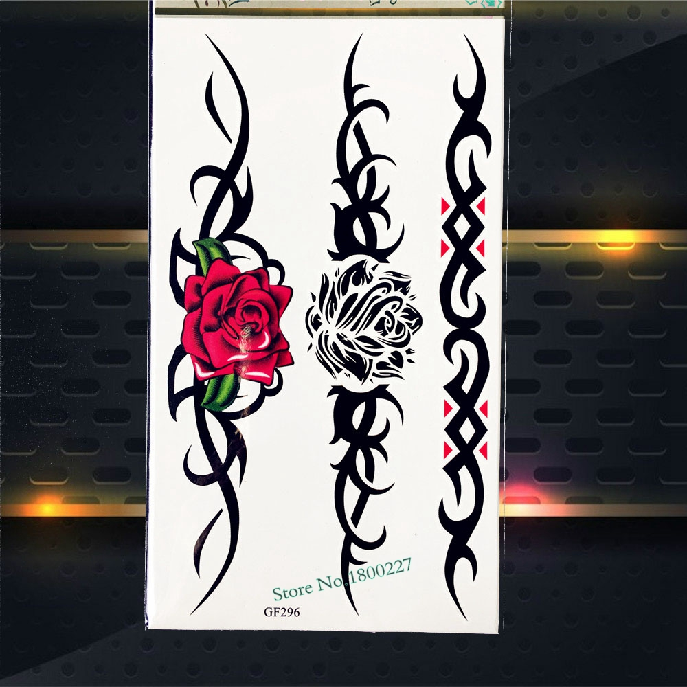 Large Black Roses Temporary Tattoo Arm Sleeves Waterproof Fake Flash Tattoo Stickers PGF296 Women Body Art Tattoo Henna Sticker