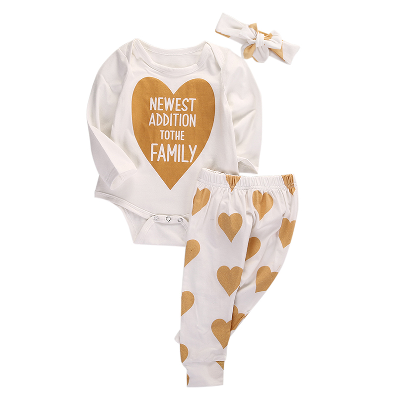 0-18M Newborn Infant Baby Boys Girls Clothes Long Sleeve Gold Heart Cotton Romper Pants Headband 3pcs Outfits Bebek Clothing Set