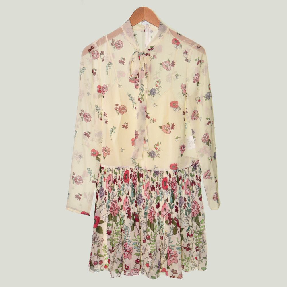 New arrival 2019 Fall women 39 s long sleeves dress Chic floral print pleated dress A584 in Dresses from Women 39 s Clothing