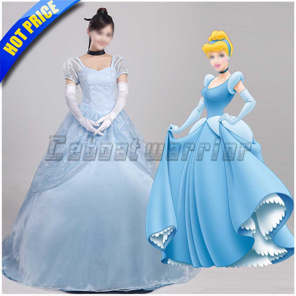 Princess Cinderella Wedding Dress Costume For: Movie Princess Cinderella Cosplay Costume Blue Cinderella