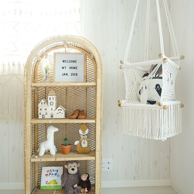 Natural Wood And Cotton Rope Handcrafted Baby Swing Chair Toddler & Baby Gift Nursery Decor Indoor Fabric Swing First Birthday