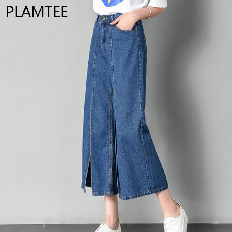 PLAMTEE High Waist Wide Leg Jeans Fashion Women Split Ankle-Length Denim Pants Casual Loose Street Boyfriend Jeans Pantalon S~XL plus size casual loose wide leg pants summer new women s boyfriend spliced holes blue jeans high waist ankle length trousers