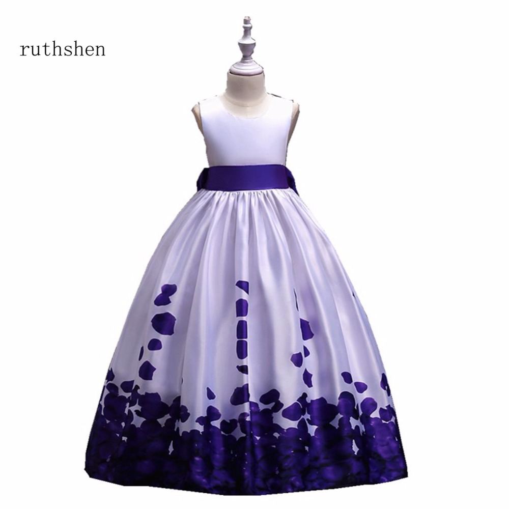 ruthshen Princess Baby A Line Flower Girls Dresses For Weddings With Flowers Pattern Kids Floor Length
