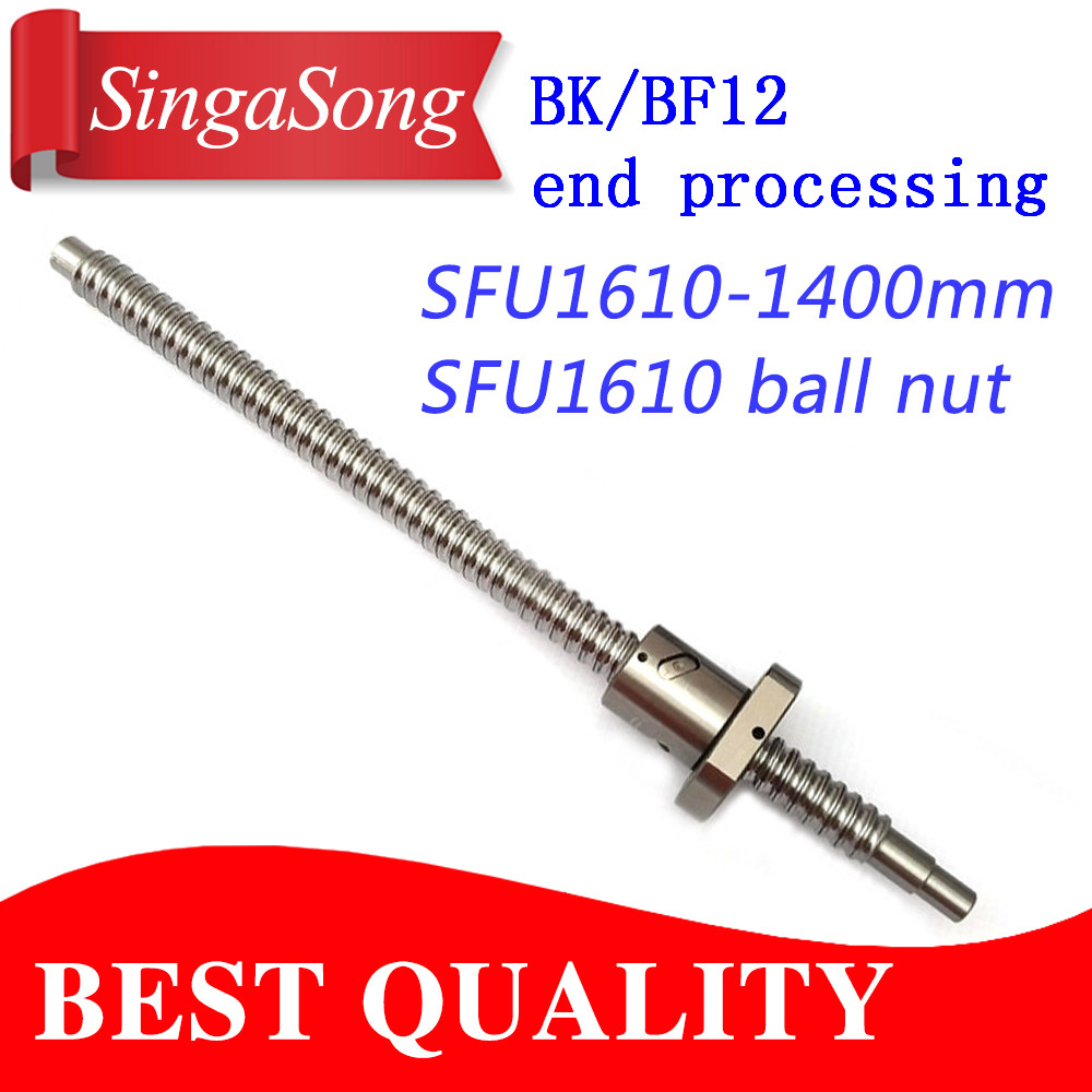 16mm 1610 Ball Screw Rolled C7 ballscrew SFU1610 1400mm with one 1610 flange single ball nut for CNC parts видеокамера panasonic hc v160 black