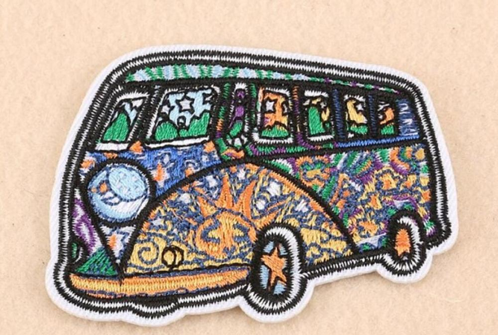 Psychedelic bus iron On Patches badge  DIY Cloth Accessories embroidered  Wholesale