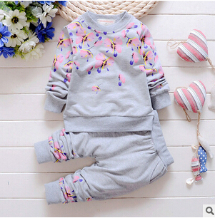 2016 New cotton autumn children baby clothing set infant boys girls Embroidery  suits shirt+pants sets for Roupas de bebe