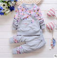 2016 Nova algodão outono crianças conjunto de roupas infantis do bebê meninos meninas Bordados ternos shirt + calças conjuntos de Roupas de bebe