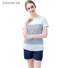 Frauen Pyjamas Sets Baumwolle Shorts Rundhals Gestreiften Sommer Nachtwäsche für Frauen 2 Stück Weich und Komfort Homewear Pijamas