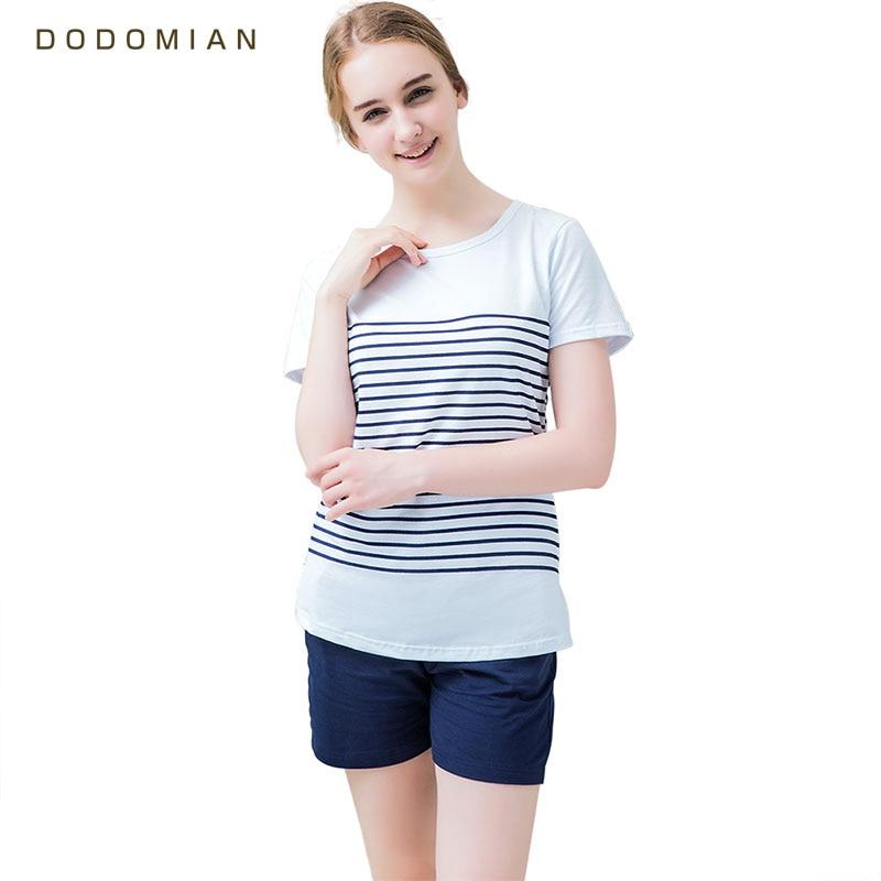 Women Pajamas Sets Cotton Shorts Round Neck Striped Summer Sleepwear for Women 2 Pieces Soft and Comfort Homewear Pijamas-in Pajama Sets from Underwear & Sleepwears