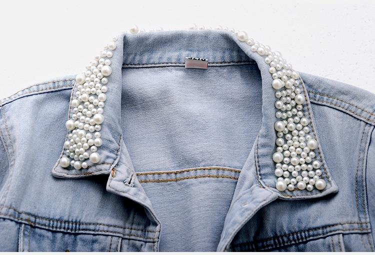 2018 Women Spring Autumn Korean Diamond Beaded Denim Jacket Summer Light Blue Short Jackets Slim Jeans Coats Feminino Outerwear 3