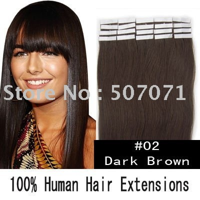 """5sets 20"""" remy tape in hair extensions remy hair extensions tape #02 dark brown 50g/set 20pcs/set EMS free"""