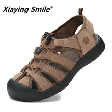 Luxury New Fashion Summer Shoes Cow Leather Men Sandals Mens Casual Shoes Non-slip Rubber Soles Beach Shoe M