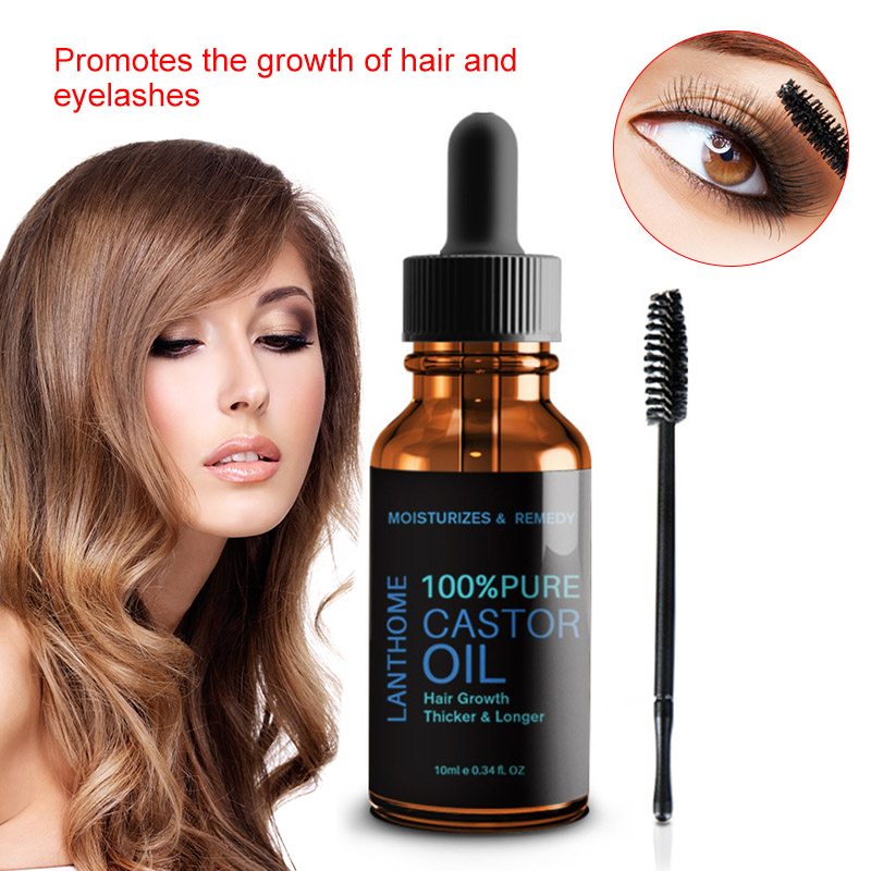10ml 100% Pure Natural Castor Oil Calm Nourish Hair Castor Organic Eyelash Enhancer Growth Essence Effective Hair Repair Liquid