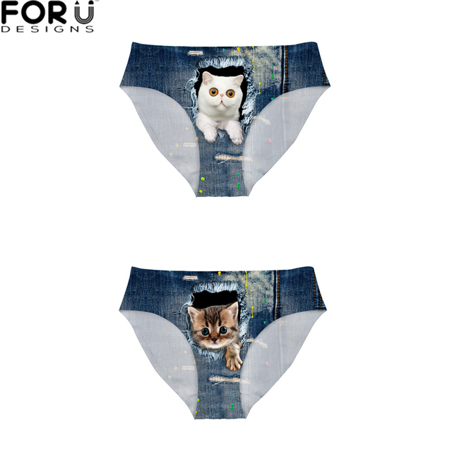 c2e30d1bbc6 FORUDESIGNS Panties Sexy 2PCS Lot Underwear Women Panty 3D Cute Jeans Cat  Printing Briefs Female Mid-Rise Underpant Big Size XL