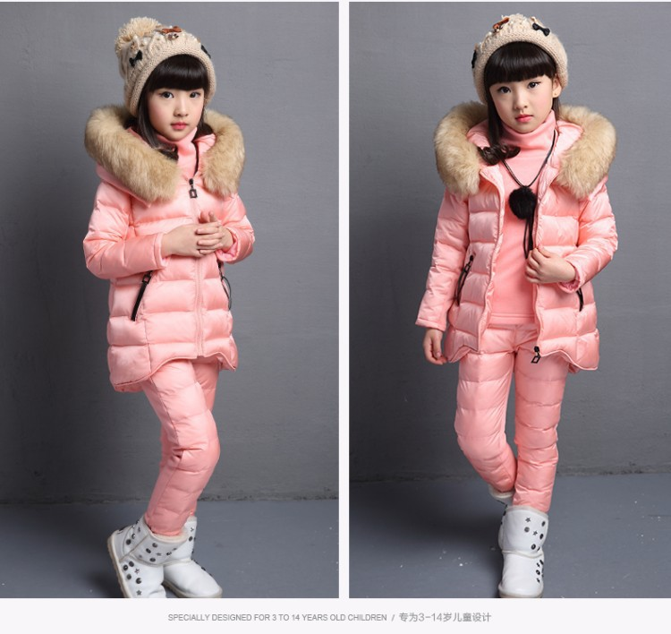 Children Cotton three pieces Sets Girls Clothing with fur hood Winter vest + underskirt + Trousers Snow Warm Kids Clothes Suit three 100ml