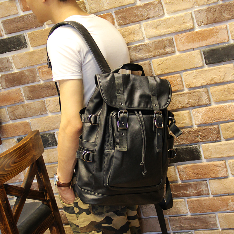 051018 new hot man fashion leather travel backpack student school bag 1
