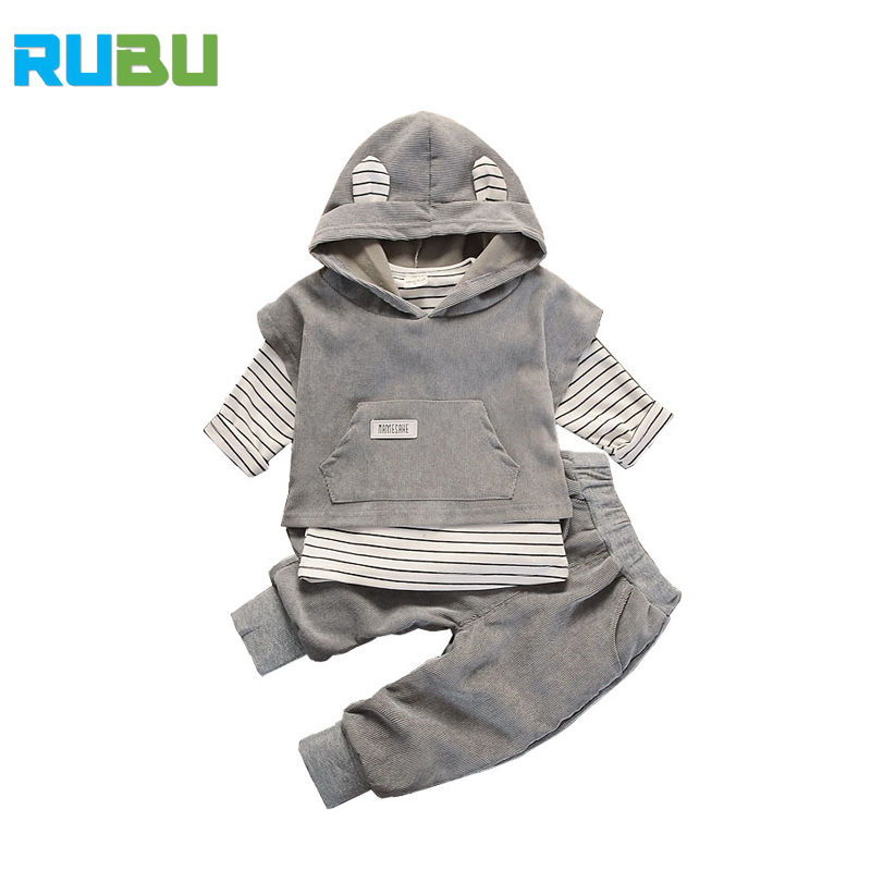 2017 Spring And Autumn New Mini Cute Rabbit Ears Child Clothing Fashion Casual Three-piece Children's Boy Girl Clothing JSB242