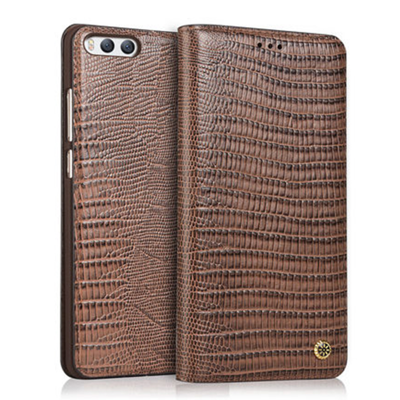 Wobiloo Fashion Lizards Pattern Business Flip Genuine Leather Case Phone Accessory Cover Bag For Xiaomi 6