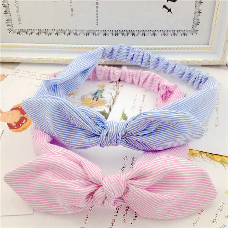 2019 Fashion Rabbit Ear Hair Bands Hair Accessories Women Cotton Striped Headband Lady Girls Bow Knot Hairband Head Wrap