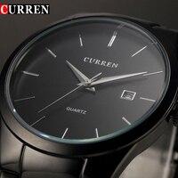 גברים שעון קוורץ מותג אופנה Curren שעוני יד שעון זכר עסקי מזדמן פלדה שחור מלא Relojes hombre מתנה פשוטה חדש