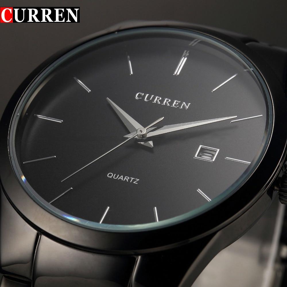Moda Curren marca reloj de cuarzo hombres completo acero negro negocios casual reloj hombre relojes hombre regalo simple nuevo
