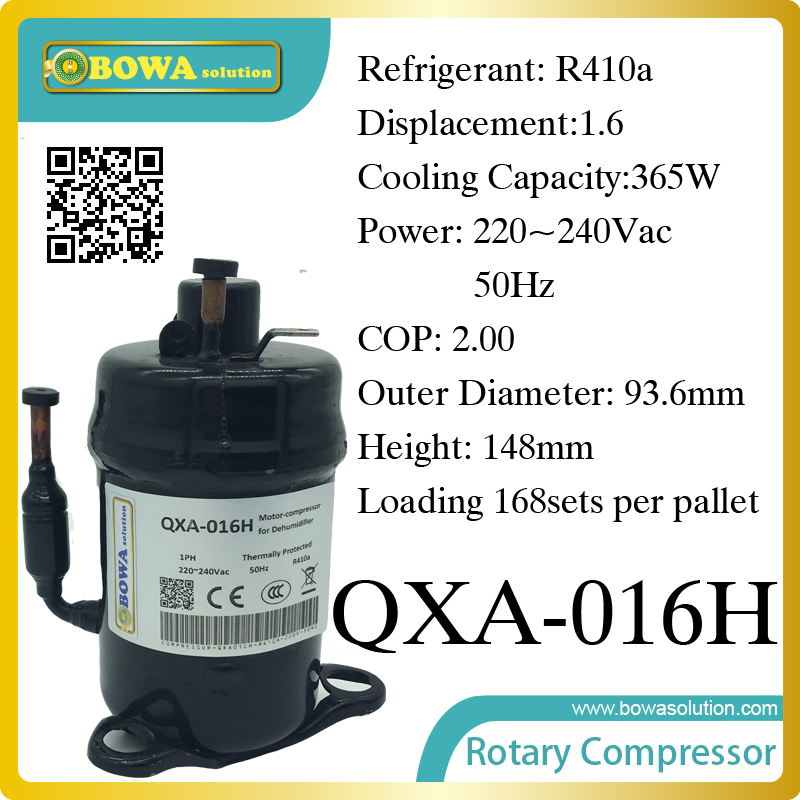 R410a compressor (365W cooling capacity) suitable for small cooling equipments and small fridge display r410a compressor 1250w cooling capacity suitable for dehumidifiermachine or air dryer machine