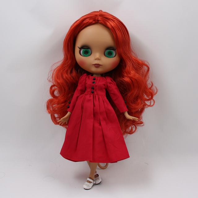 ICY factory blyth doll dark skin joint body new matte face red curly hair without bangs DIY sd gift toy