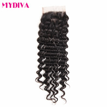 Mydiva Remy Human Hair Closure Deep Wave 4x4inch Lace Closure With Baby Hair Free Part Natural Color 8-18inch 130% Density