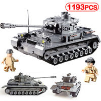 1193pcs German Panzer IV Army Building Blocks Compatible Legoinglys War Classic Model No.4 Tank F2 Military Kids Toy Sets