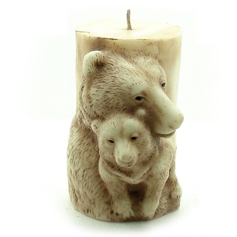 Moule de bougie en Silicone en Relief ours 3D bricolage moule de savon en argile de résine fait à la main