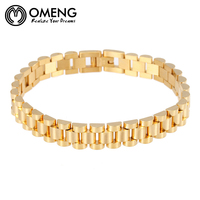 OMENG Gold Plated Titanium Steel Hollow Out Punk Mens Gold Bracelet And Bangles Fashion Jewelry For