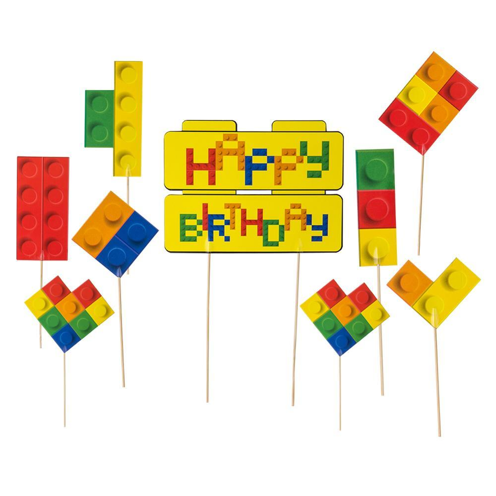 Set Of 9 Building Block Brick Theme Cupcake Topper Kit Happy Birthday Cake Topper Baby Boy First Birthday Party Decorations
